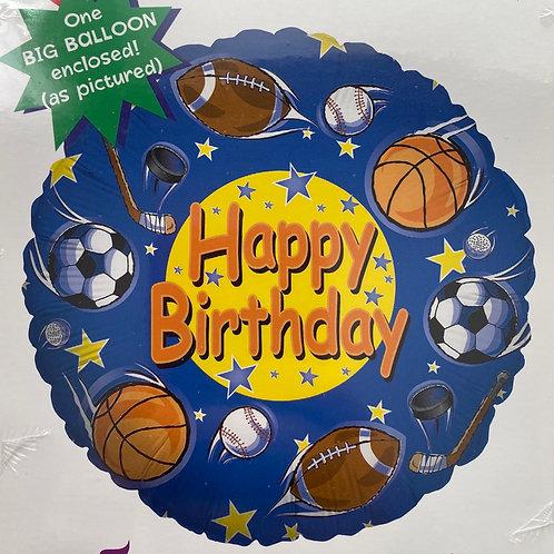 Happy Birthday Sports Foil Balloon