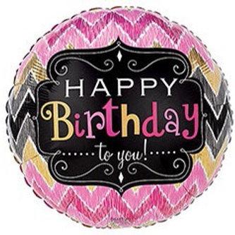 Happy Birthday Chevron Foil Balloon