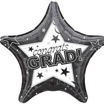 Congrats Grad Black Star Foil Balloon