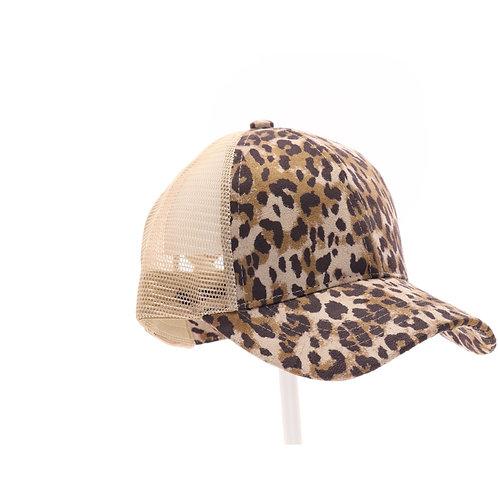 CC Beanie Leopard Criss-Cross High Pony Ball Cap