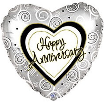 Anniversary Swirl Foil Balloon