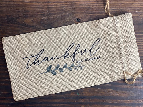 Thankful and Blessed Wine Bag