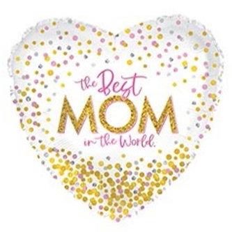Best Mom Confetti Heart  Foil Helium Balloon
