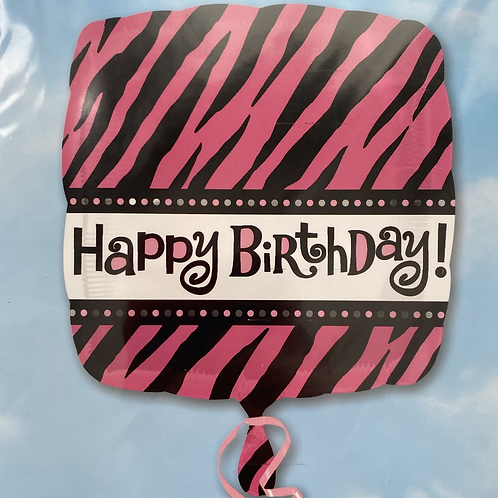 Square Pink Zebra HBD Foil Balloon