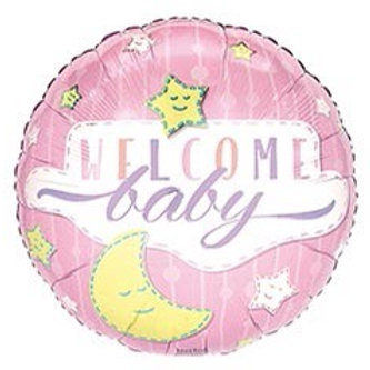 Pink Welcome Baby Foil Balloon