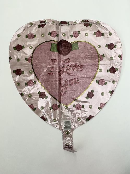 I Love You Mauve Floral Foil Balloon