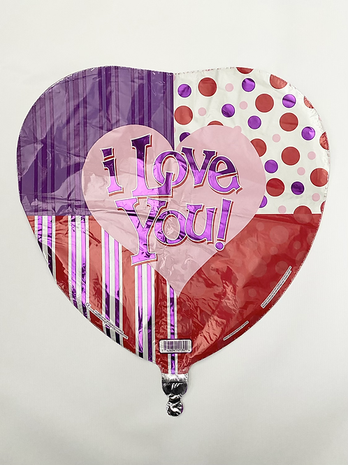 I Love You Patchwork Foil Balloon
