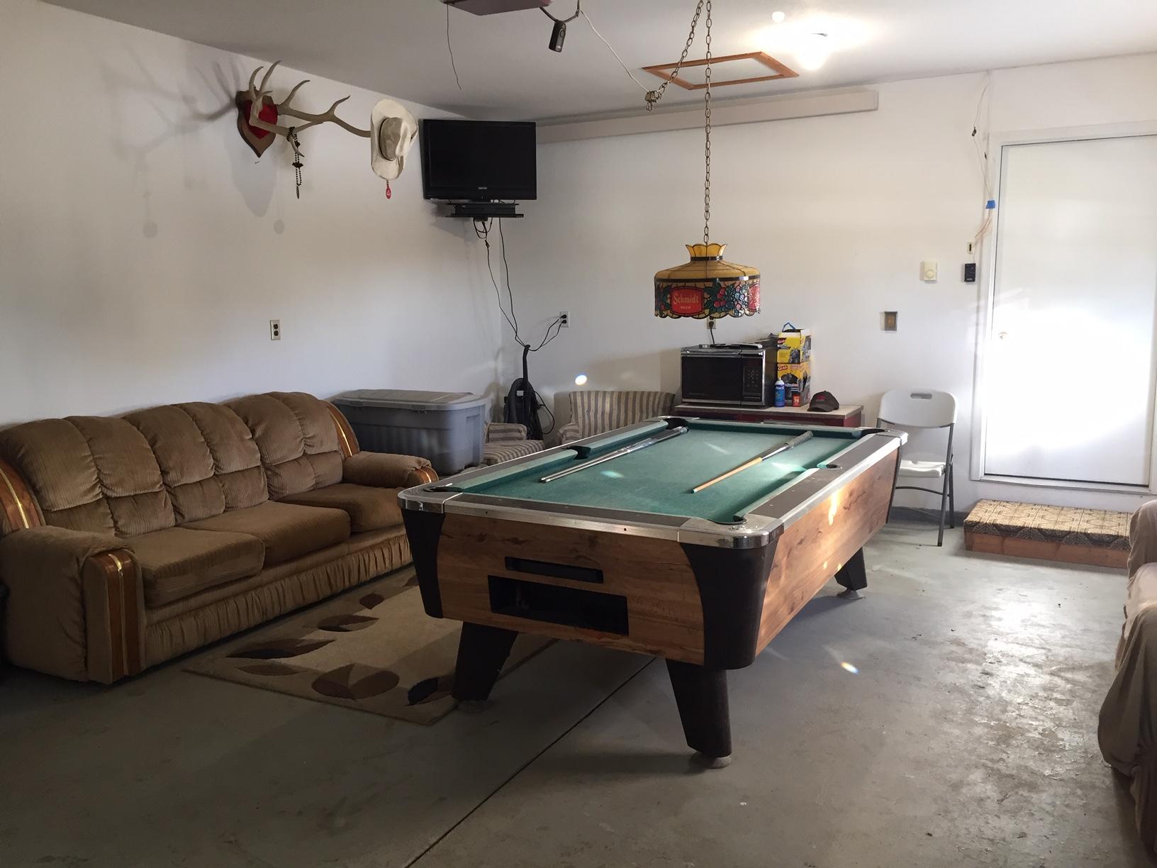 pool table and garage
