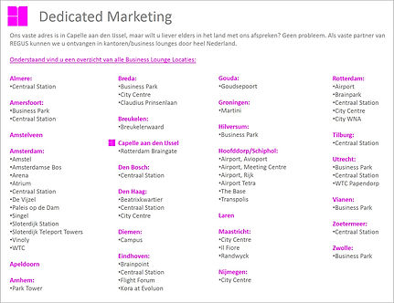 Dedicated Marketing Business Lounges Nederland