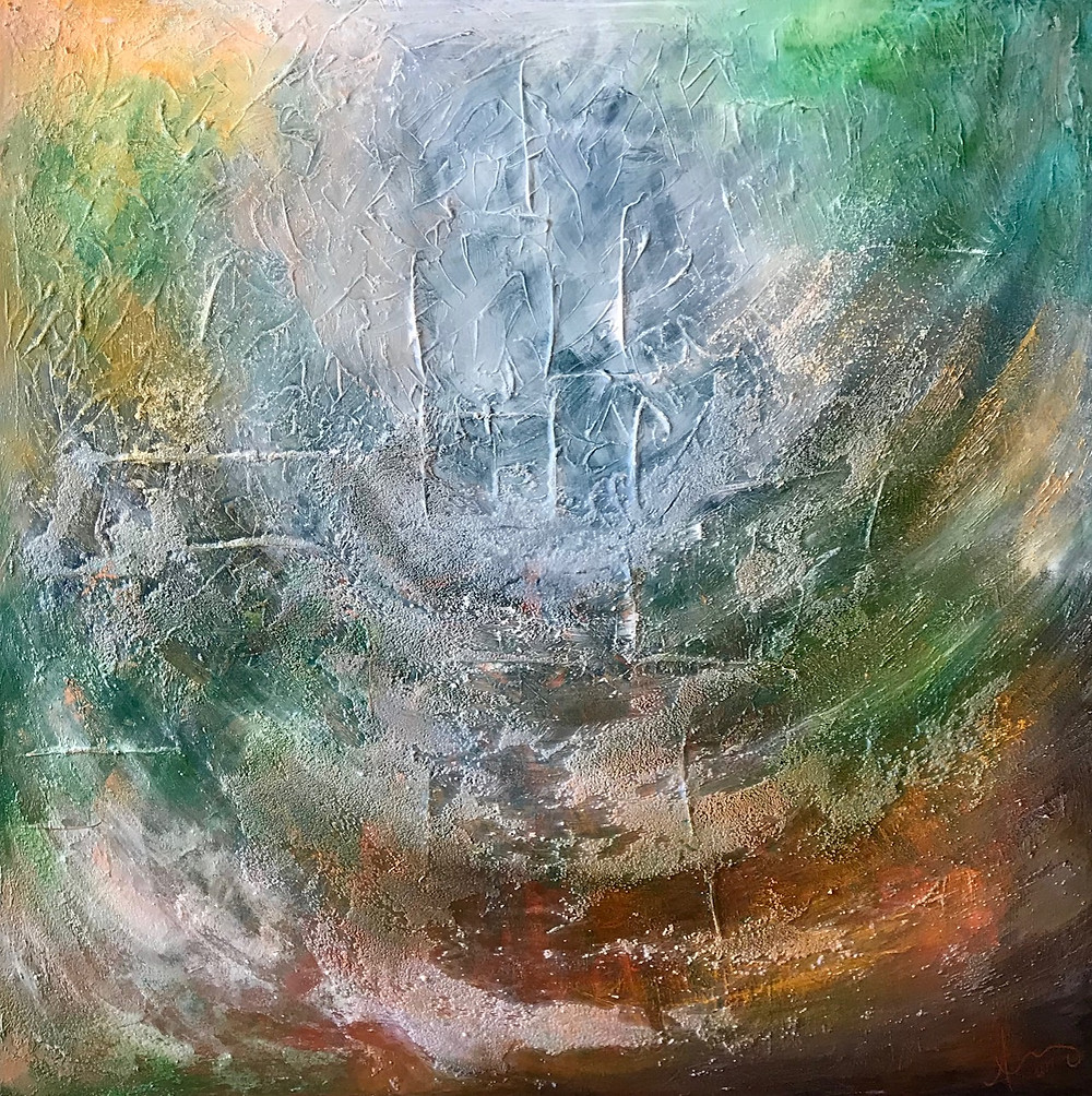 Rainbow Coalessence, mixed media on canvas by Angela Chargois