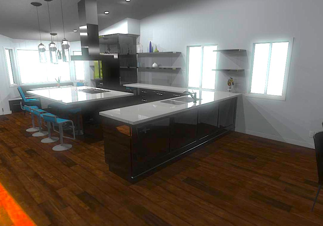 Contemporary Kitchen Remodel Rendering 3D