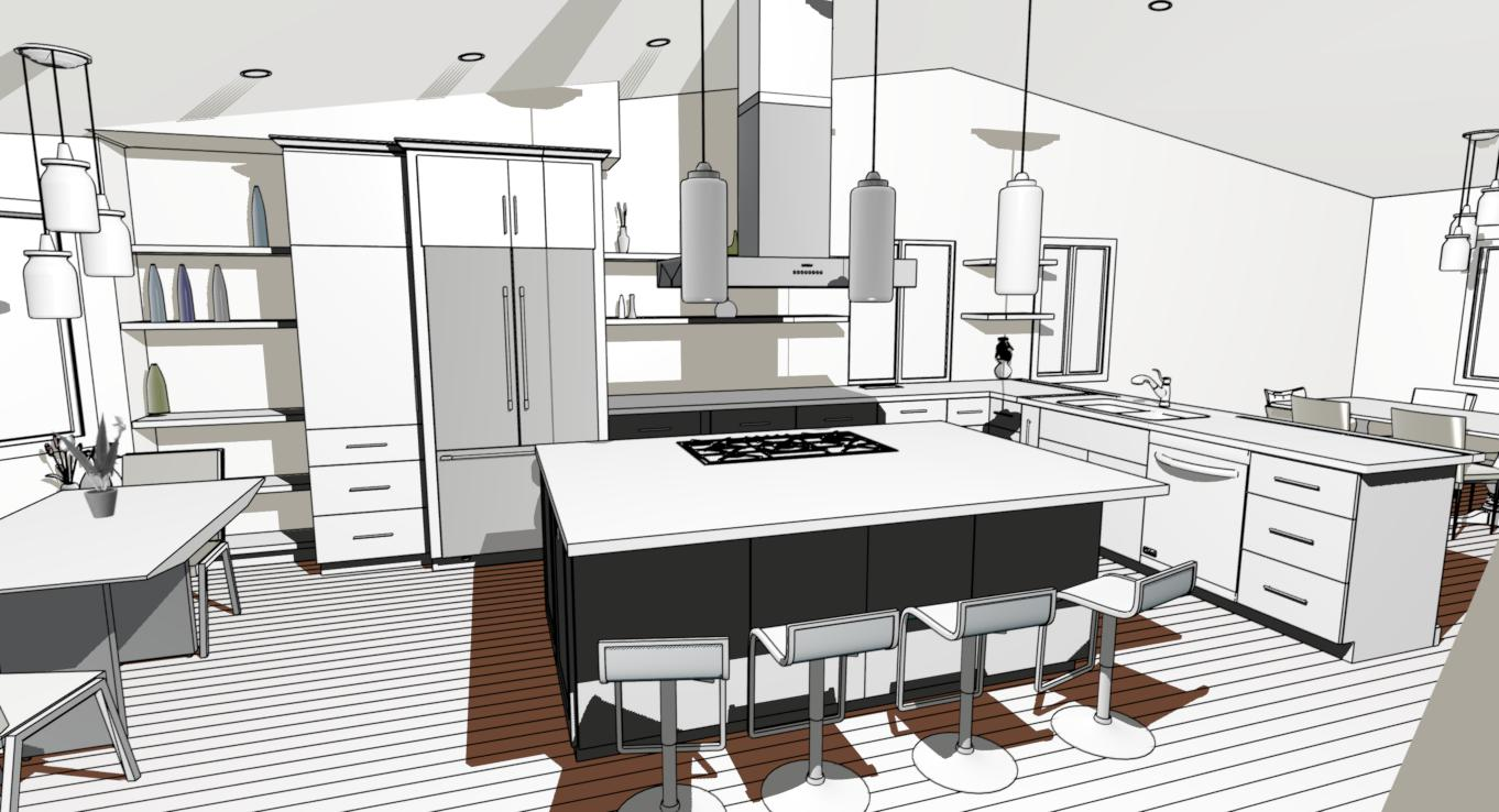 Contemporary Kitchen Remodel 3d view
