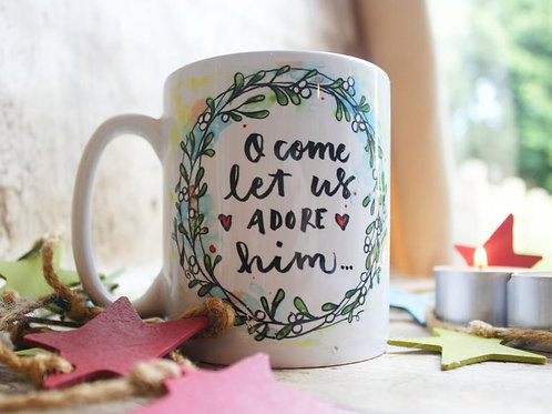 Christmas Carol Mug. O come let us adore him. Christmas mug
