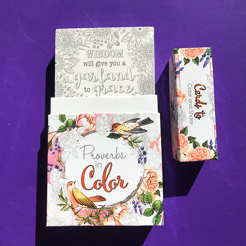 Proverbs in colour.  Proverbs cards to colour and to share