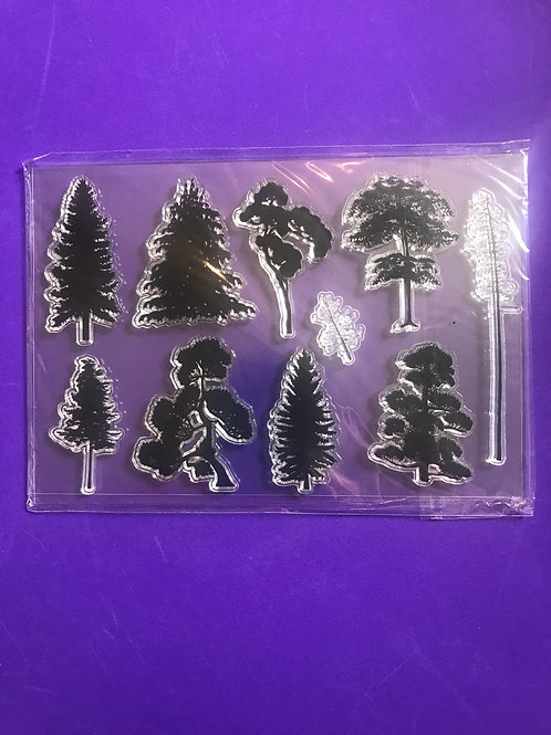 Tree leaves stamp set. Trees Clear stamps