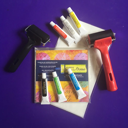 Gelli Printing Equipement. Gelli Plate. Brayer. Acrylic paints. Deli Paper