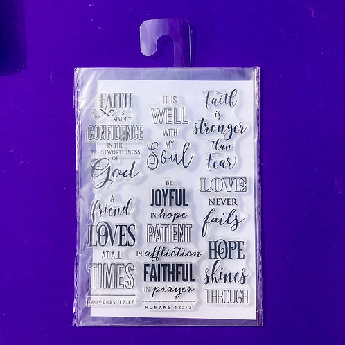 Bible stamps. Clear Craft stamps.Love never fails. It is well with my soul.