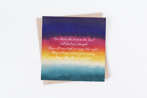 Christian Bible Greeting Card. Isaiah 40:31 They will soar on eagles wings.