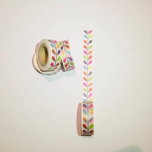 Washi Tape. Coloured leaf pattern