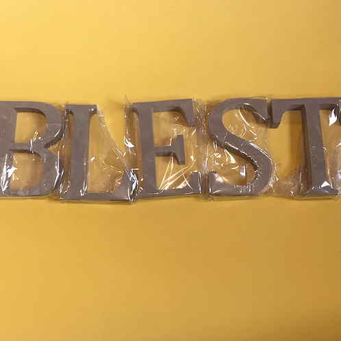 BLEST MDF Letters to decorate yourself. Christian Ornament.