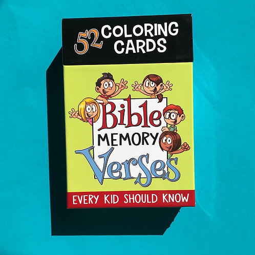Bible memory verses colouring cards. One per week.