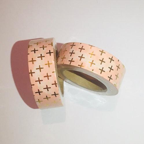 Pastel Gold Foil Cross. Washi Tape