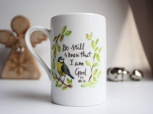 Bible Verse China Mug. Be Still and know. Psalm 46 Christmas Gift