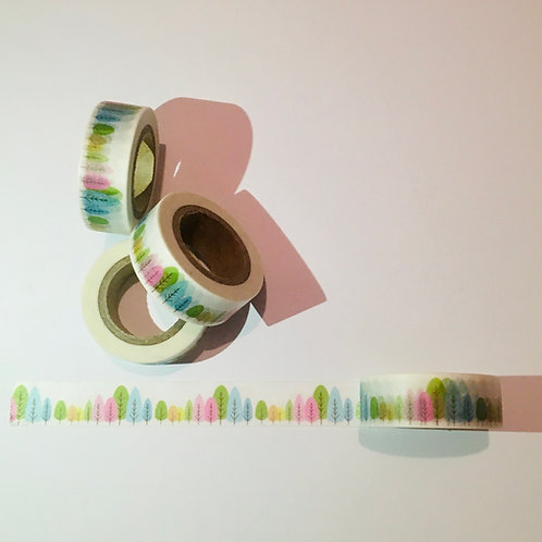Decorative Washi Tape. Coloured trees