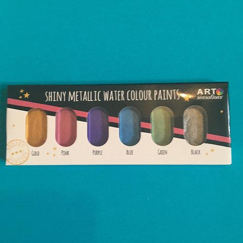 Shiny metallic water colour paint sets
