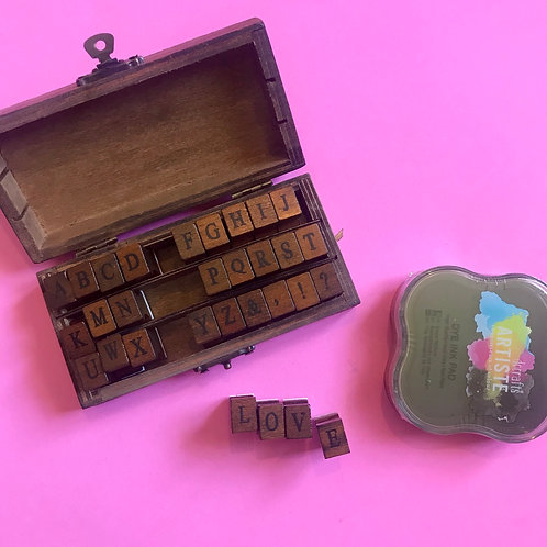 Wooden Upper Case Letter stamps.