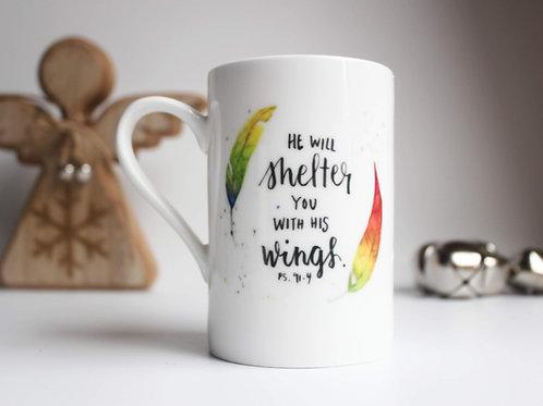 China Bible Verse Mug. Feathers Mug. Psalm 91:4 Secret Santa Gift