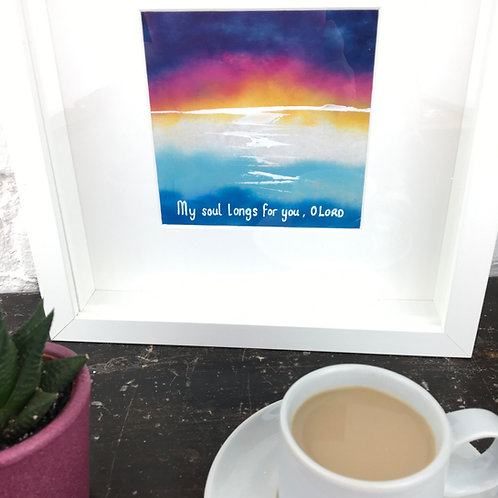 Christian Artwork. Framed Watercolour Bible Verse Painting. My soul longs