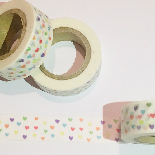 Washi Tape. Mini Coloured Hearts