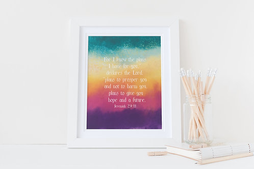 For I know the plans I have for you. Christian framed print. Christian Print