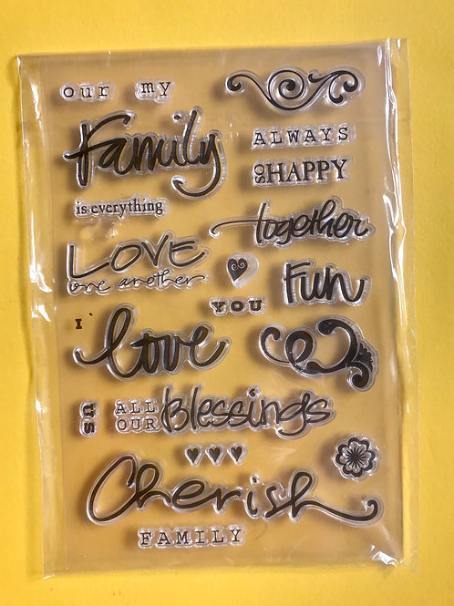Word stamp set. Clear stamps
