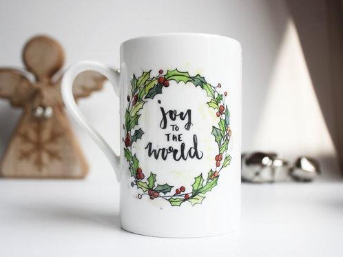 Christmas Carol China Mug. Joy to the world.