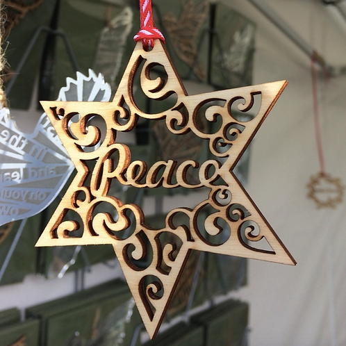 Peace Christmas Tree Decoration. Christmas Gift, Laser Tweet, Gift. Home Decor.