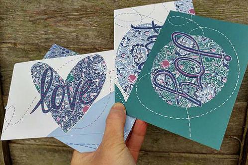 Set of Christian postcards. Hope. Faith. Love. Joy. Postcards Emily Kelly Design