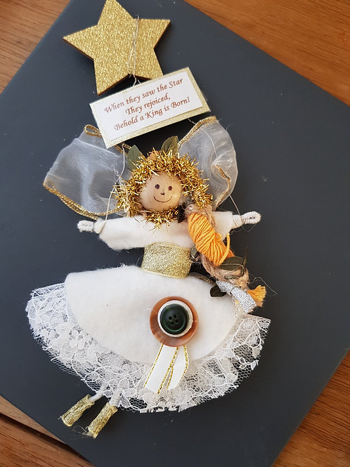 Angel Christmas Decoration. Gift Doll. Christian Gift. Behold a King is born.