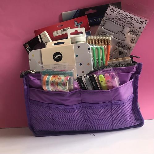 Bible Journaling Art Bag. Purple Storage Bag