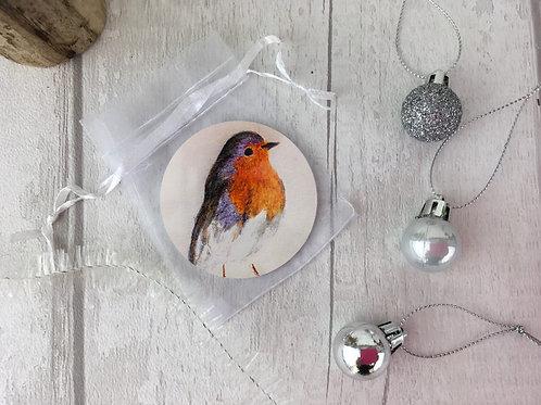 Pocket Make-Up Mirror,Christmas Robin,British Garden