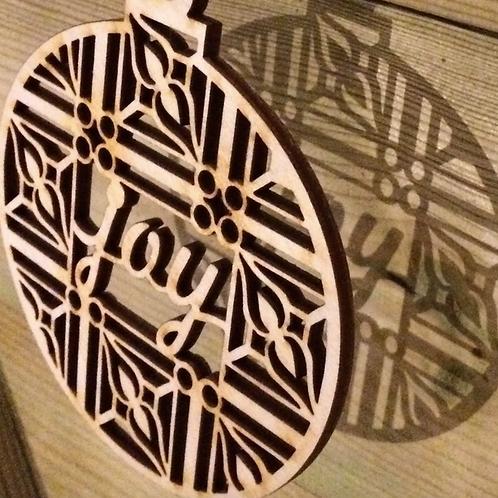 Joy Christmas Gift. Tree Decoration. Wooden Joy Decoration. Laser Tweet, Gif