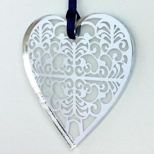 Silver mirrored heart. Christmas Gift. Stocking Filler