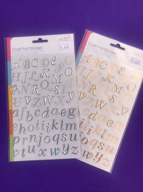 Craft Foil Alphabet Stickers - silver, gold.  Upper and lower case