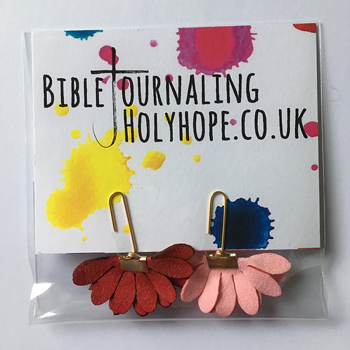 Pink and Red Flower Bible Bookmarks. Christmas Christian Gift. Stocking Filler.