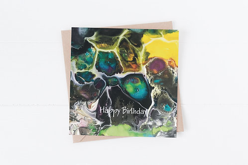 Birthday Card. Paint pouring. Male or female card.