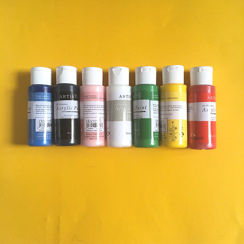 Do Craft Acrylic Paints. Red. Black, Blue, Pink, Green, Yellow, White