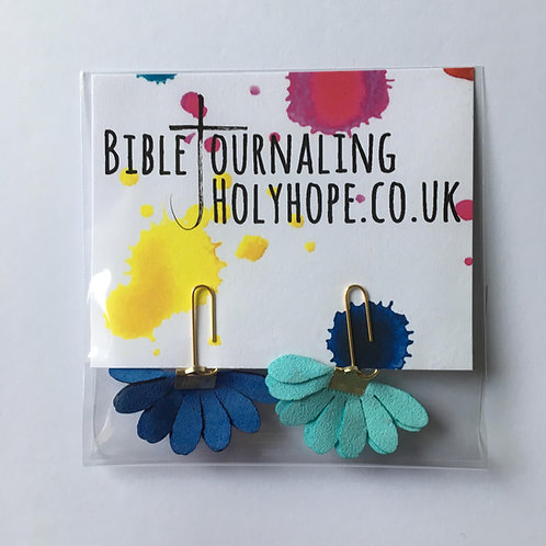Blue Flower Bible Bookmarks. Bible Journaling.