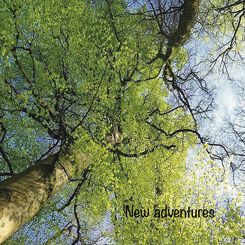New Adventure Greeting Card. Photographic Tree and sky.