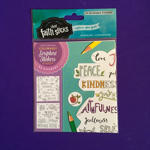 Colourable Stickers. Faith That Sticks. Bible Journaling. Galatians 5: 22-23